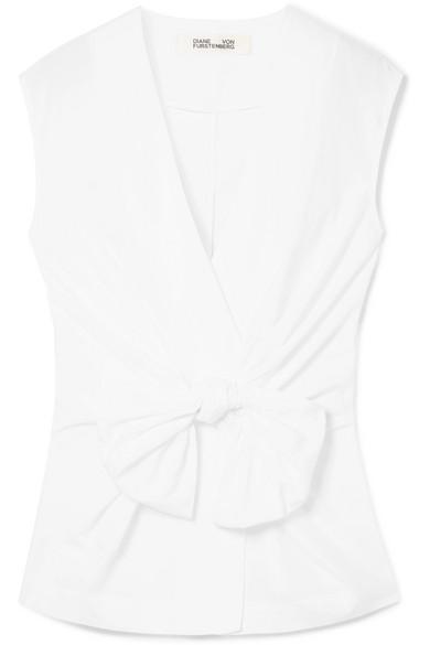 Tie-Front Cotton-Poplin Wrap Blouse