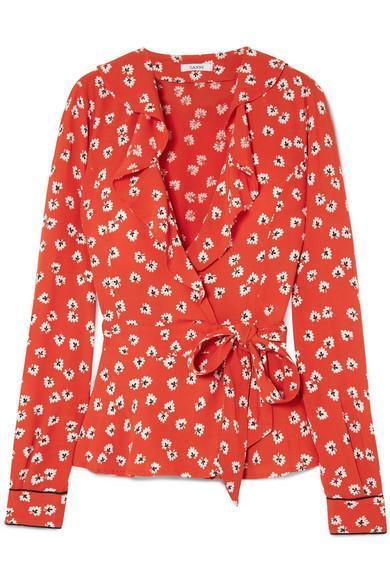 Ruffled Floral-Print Crepe de Chine Wrap Top