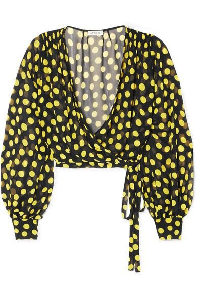 Polka-Dot Silk-Georgette Wrap Top