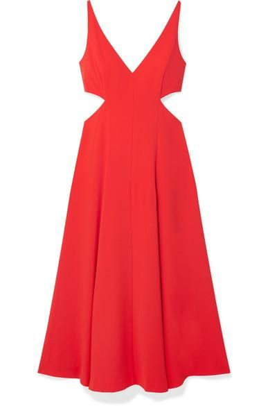 Cutout Crepe de Chine Midi Dress