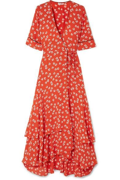 Floral-Print Crepe de Chine Wrap Dress