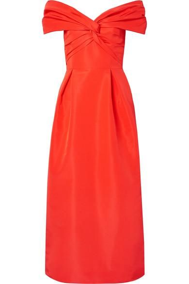Off-the-Shoulder Knotted Silk-Faille Midi Dress
