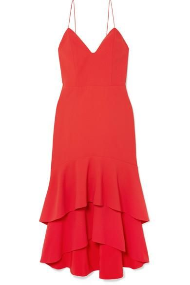 Amina Tiered Crepe Midi Dress
