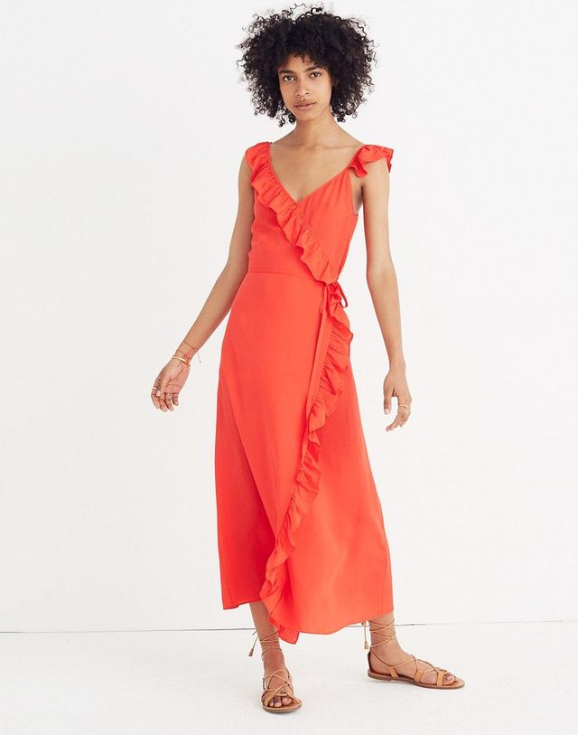 Ruffled Wrap Maxi Dress