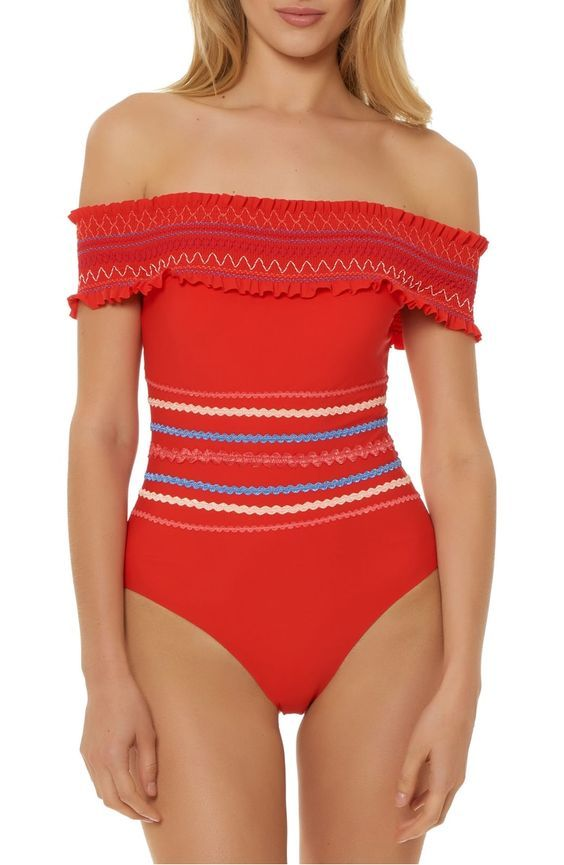 Smocked Off The Shoulder One Piece Swimsuit