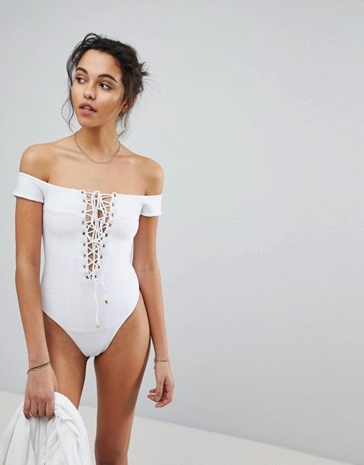 White Lace Up Off Shoulder One Piece Swimsuits