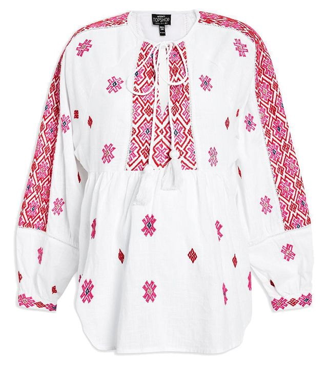 topshop maternity Embroidered Smock Blouse