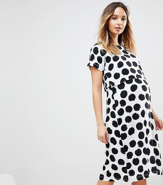 asos maternity Nursing Dress with Double Layer in Blurred Spot