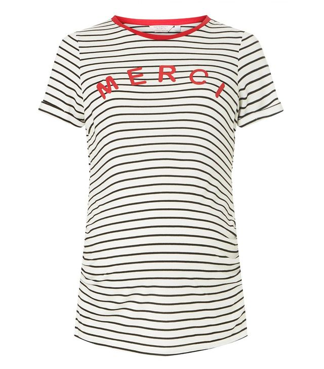 dorothy perkins *Maternity Ivory Striped 'Merci' Slogan T-Shirt