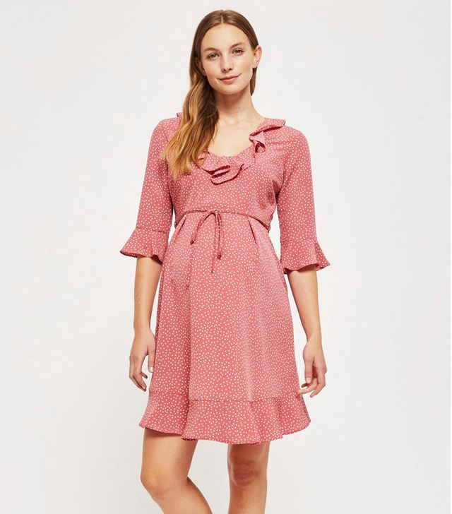 topshop maternity Pink Spotted Skater Dress