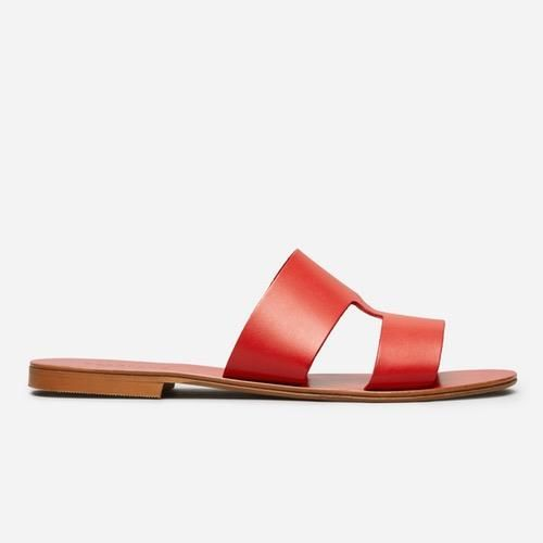 Women's  Flat Leather Sandal by Everlane in Red, Size 8.5
