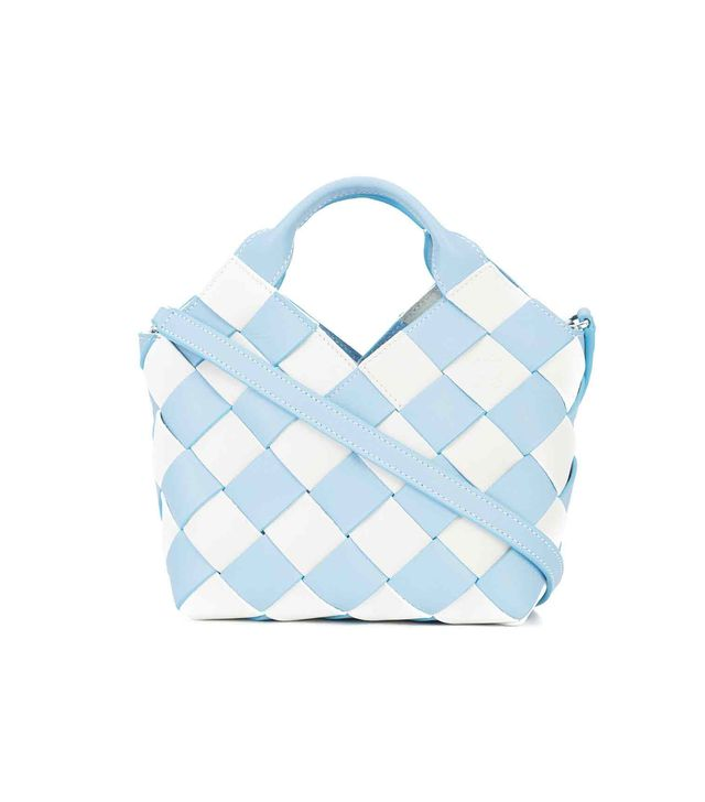 gingham woven basket bag