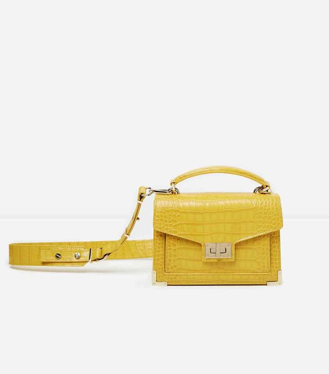 The Kooples Mini Yellow Crocodile-Effect Emily Bag
