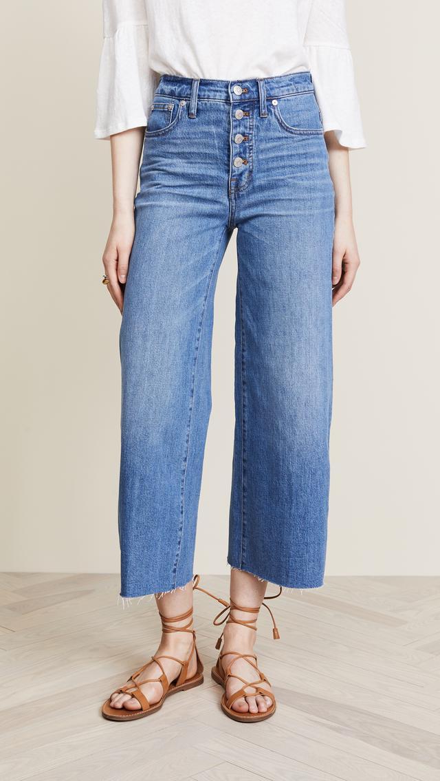 Wide-Leg Crop Jeans: Button-Front Edition