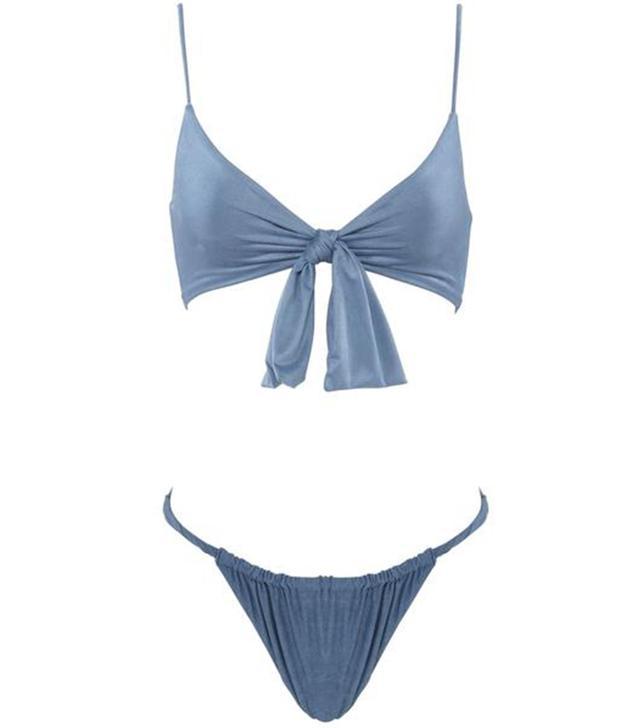 Monica Hansen Beachwear Start Me Up Suede Top With Detachable Front Bow