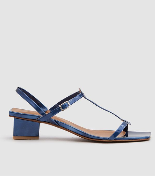 Krista Patent Leather Sandal in Blue