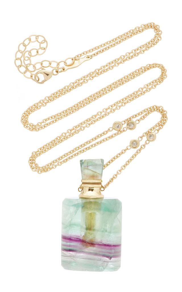 Medium Rectangle Fluorite Potion Bottle Necklace
