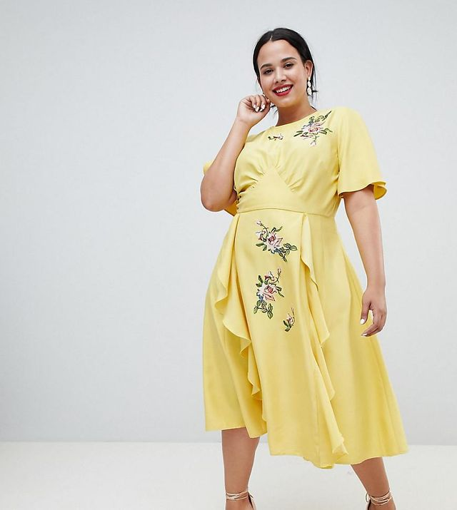 ASOS Design Curve midi dress with embroidery and ruffle detail