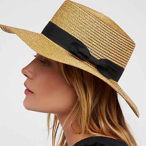Marina Shimmer Straw Boater Hat