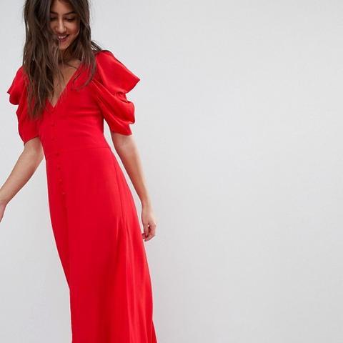 Short Sleeve Button Through Maxi Dress