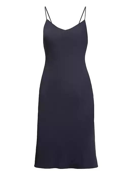Womens Petite Life In Motion Washable Stretch Silk Slip Dress Navy