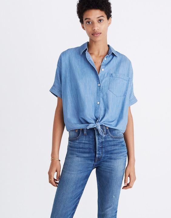 Short-Sleeve Tie-Front Shirt Denim Capsule Wardrobe