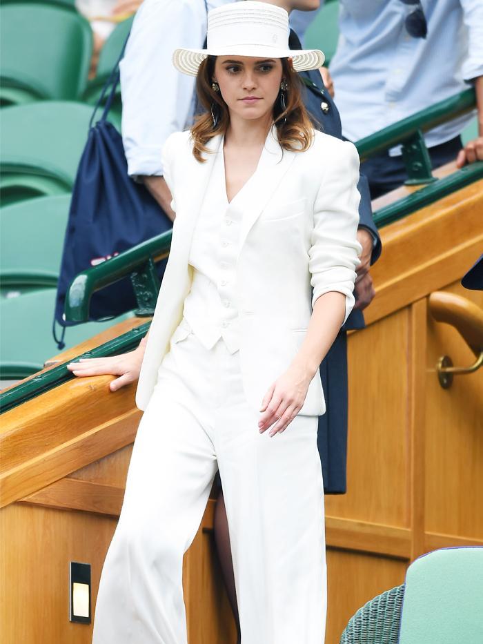 Emma Watson at Wimbledon 2018 wearing a white vintage 3-piece Ralph Lauren trouser suit