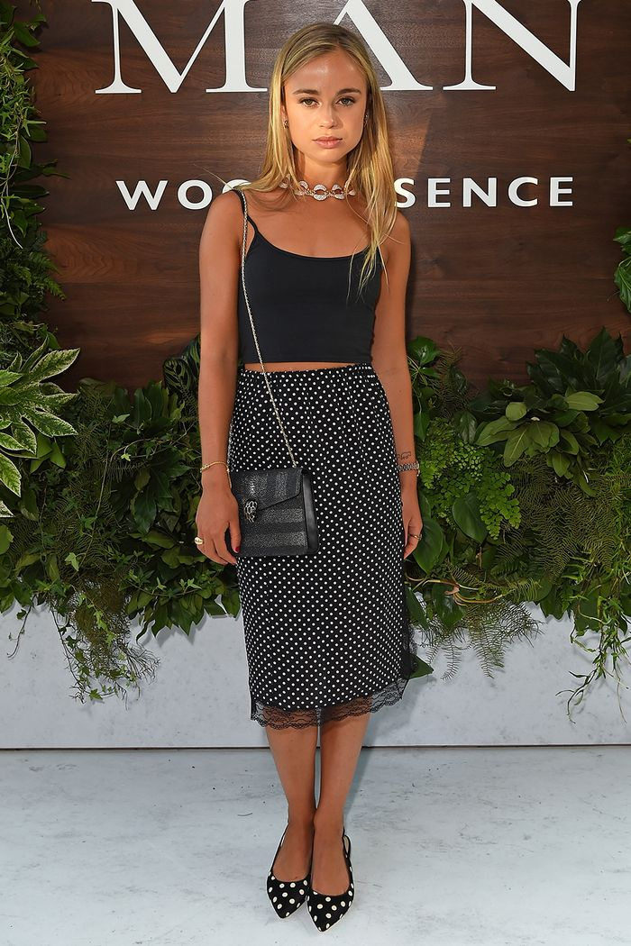 Lady Amelia Windsor in polka-dot skirt and black crop top