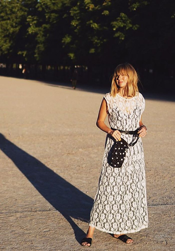 Influencers wearing Zara: Lisa Aiken white lace dress