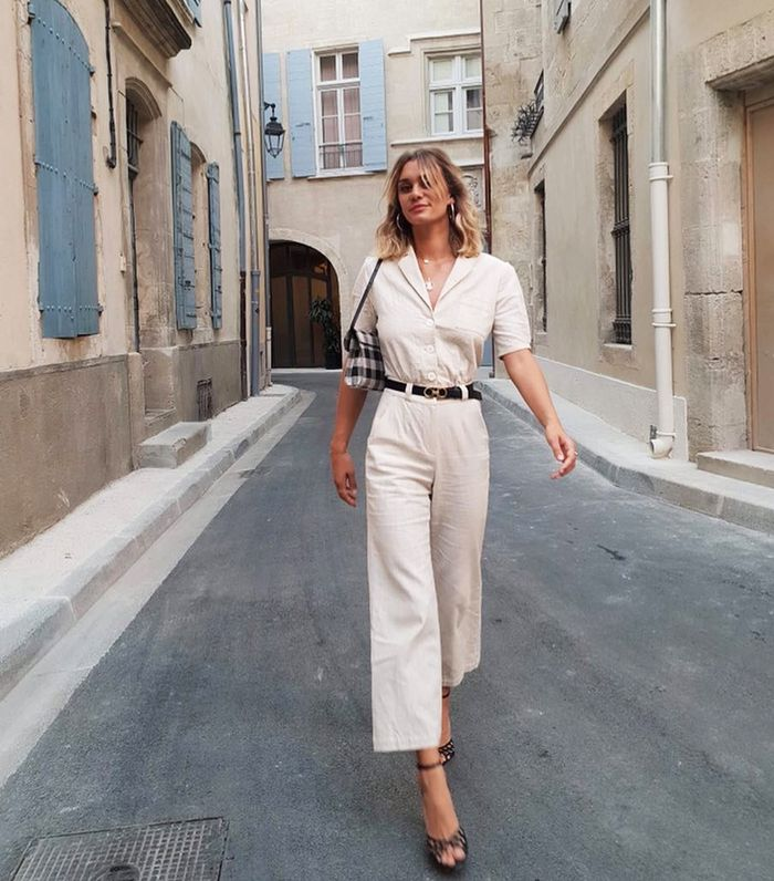 French outfits: Adenorah wearing a beige top and trousers