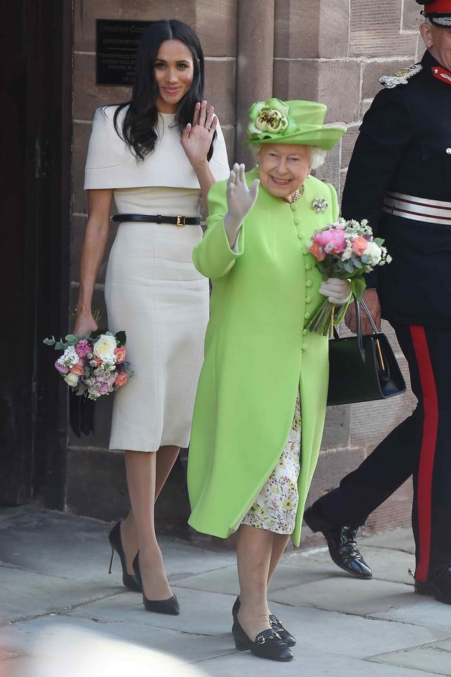Meghan Markle and Queen Elizabeth II boatneck trend
