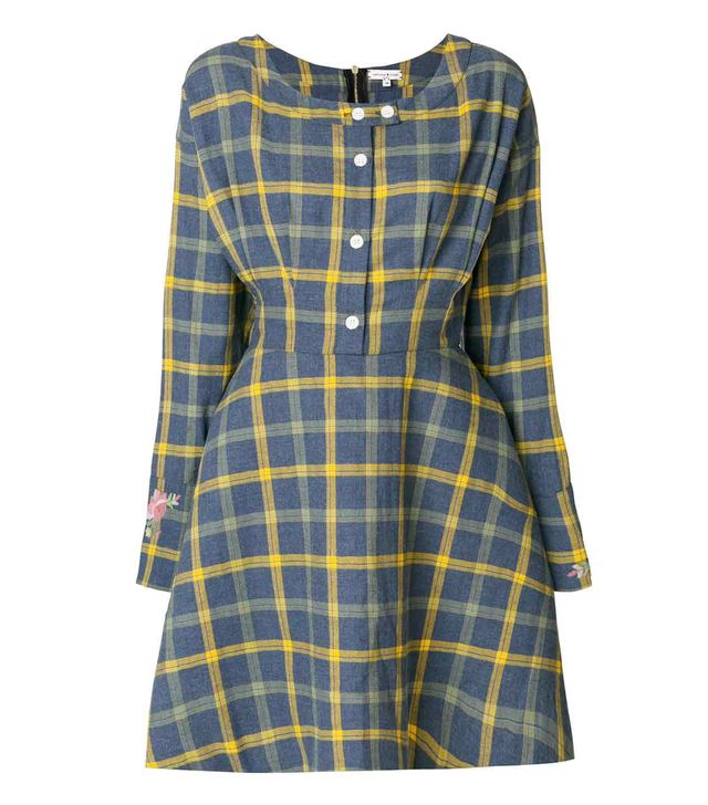 checked boat neck dress