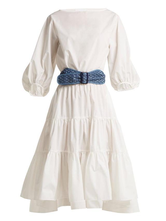 Boat-neck cotton dress