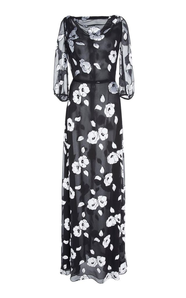 Floral Boat Neck Gown