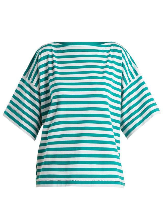 Boat-neck striped cotton top