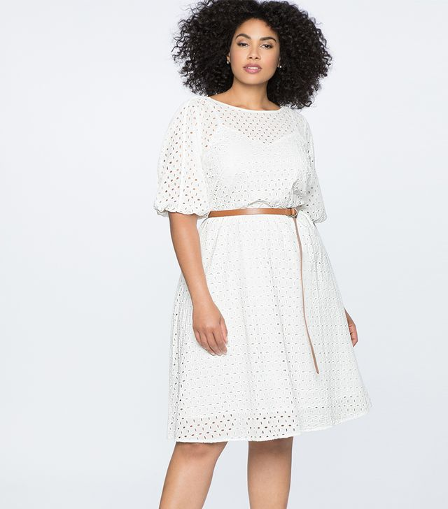 Eloquii Boatneck Eyelet Dress With Piping