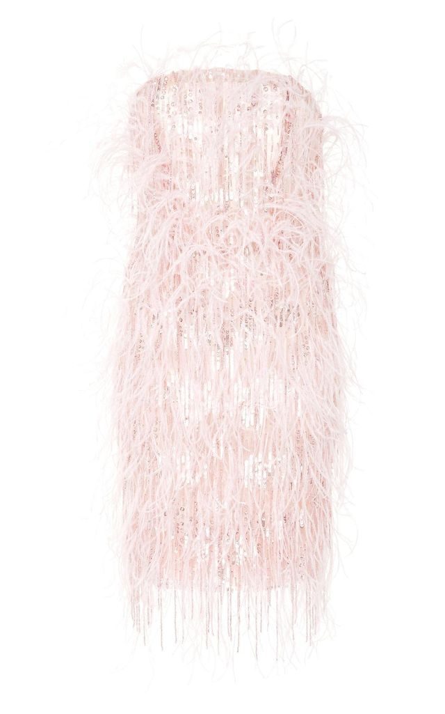 Feather Fringe Strapless Dress