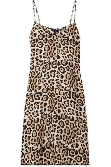 Leopard-print Silk-charmeuse Mini Dress