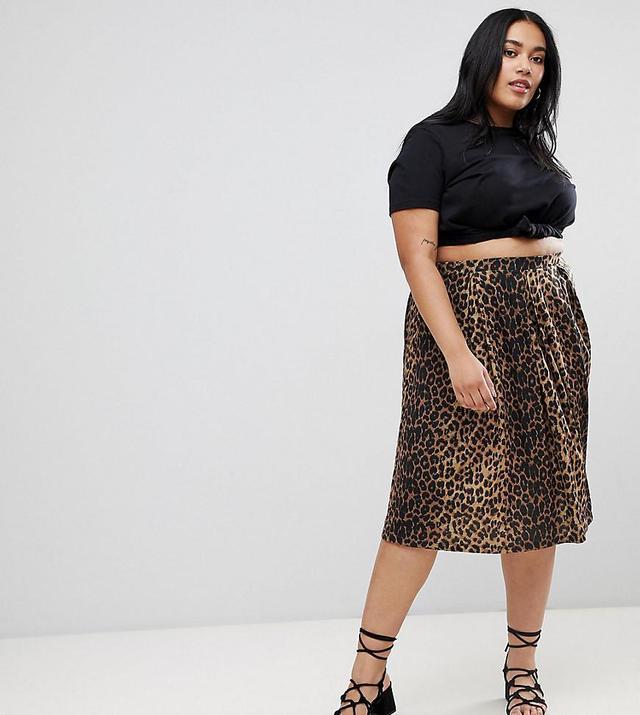 ASOS DESIGN Curve box pleat midi skirt in leopard print