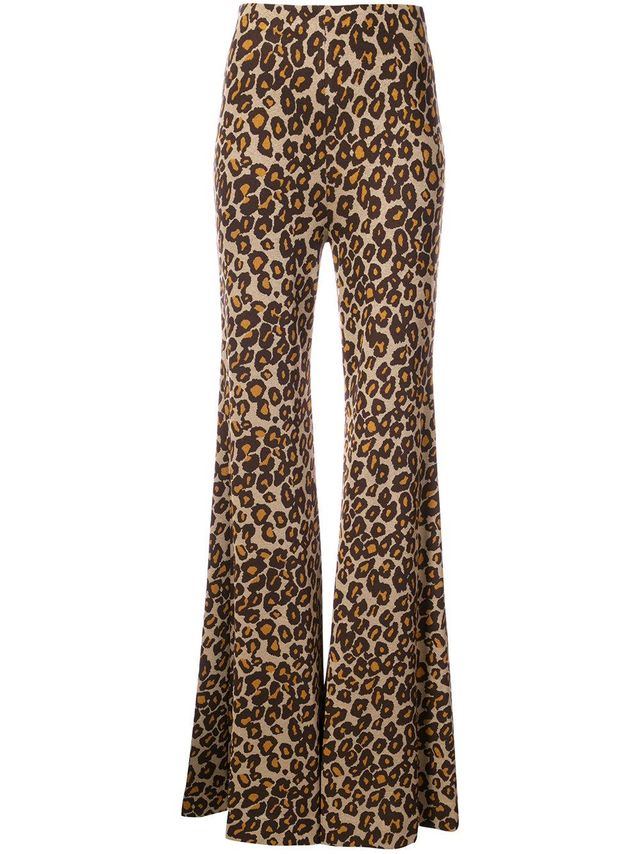 flared leopard print trousers