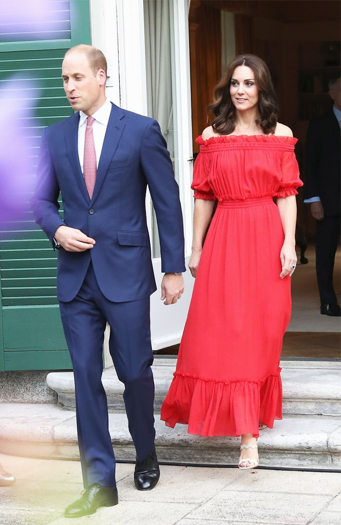 Kate Middleton Dress: Kate wears a red off the shoulder maxi dress