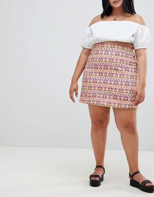 Glamorous Mini Skirt in Geo-Tribal Jacquard