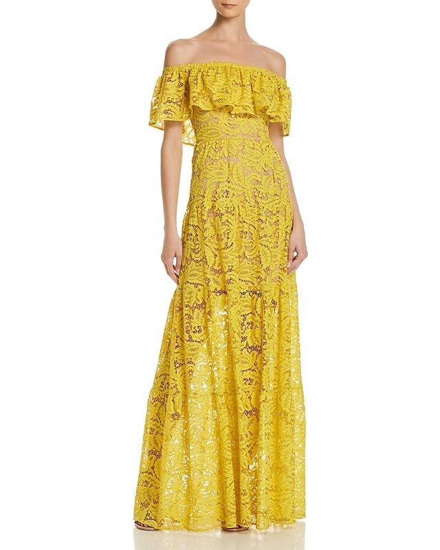 Dress the Population Reese Off-the-Shoulder Lace Gown