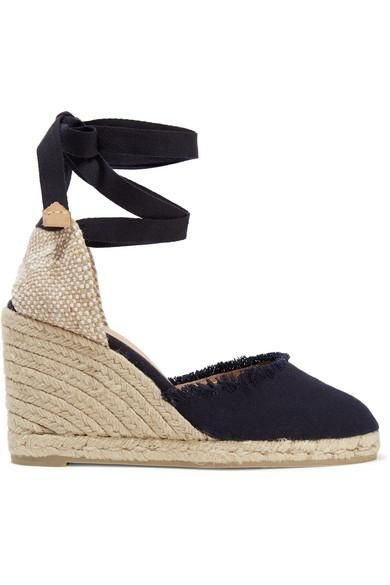 Carina Frayed Canvas Wedge Espadrilles