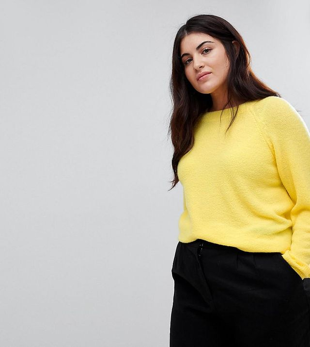 ASOS CURVE Sweater In Fluffy Yarn With Crew Neck