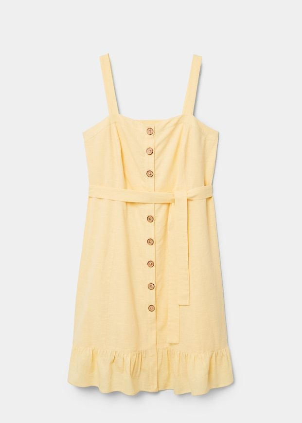 Violeta by Mango Buttoned Linen-Blend Dress