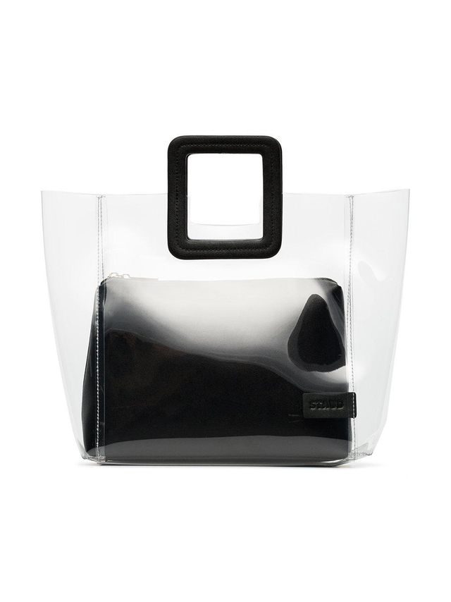 clear and black shirley PVC and leather tote