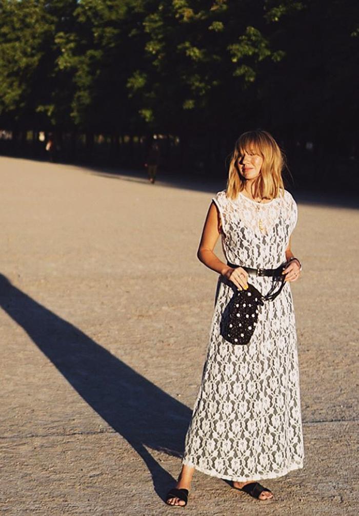 Influencers wearing Zara: Lisa Aiken white lace dress