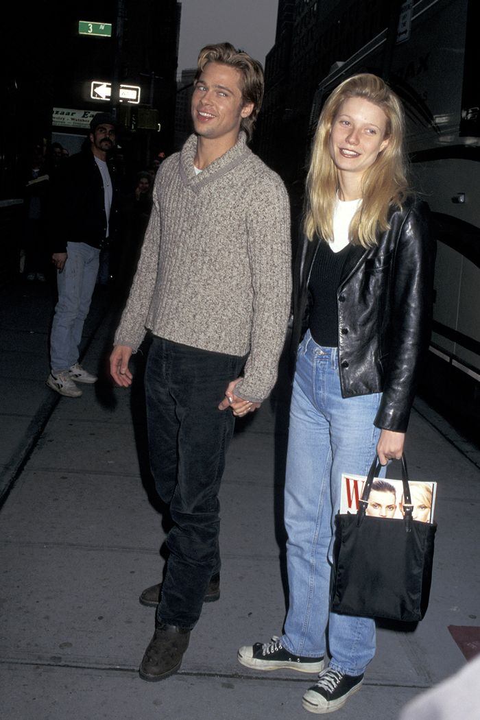 Gwyneth Paltrow 90s style: Gwyneth wearing straight leg jeans and leather jacket