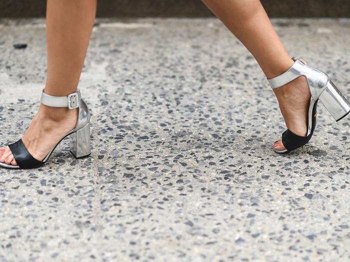 silver block-heel sandals social